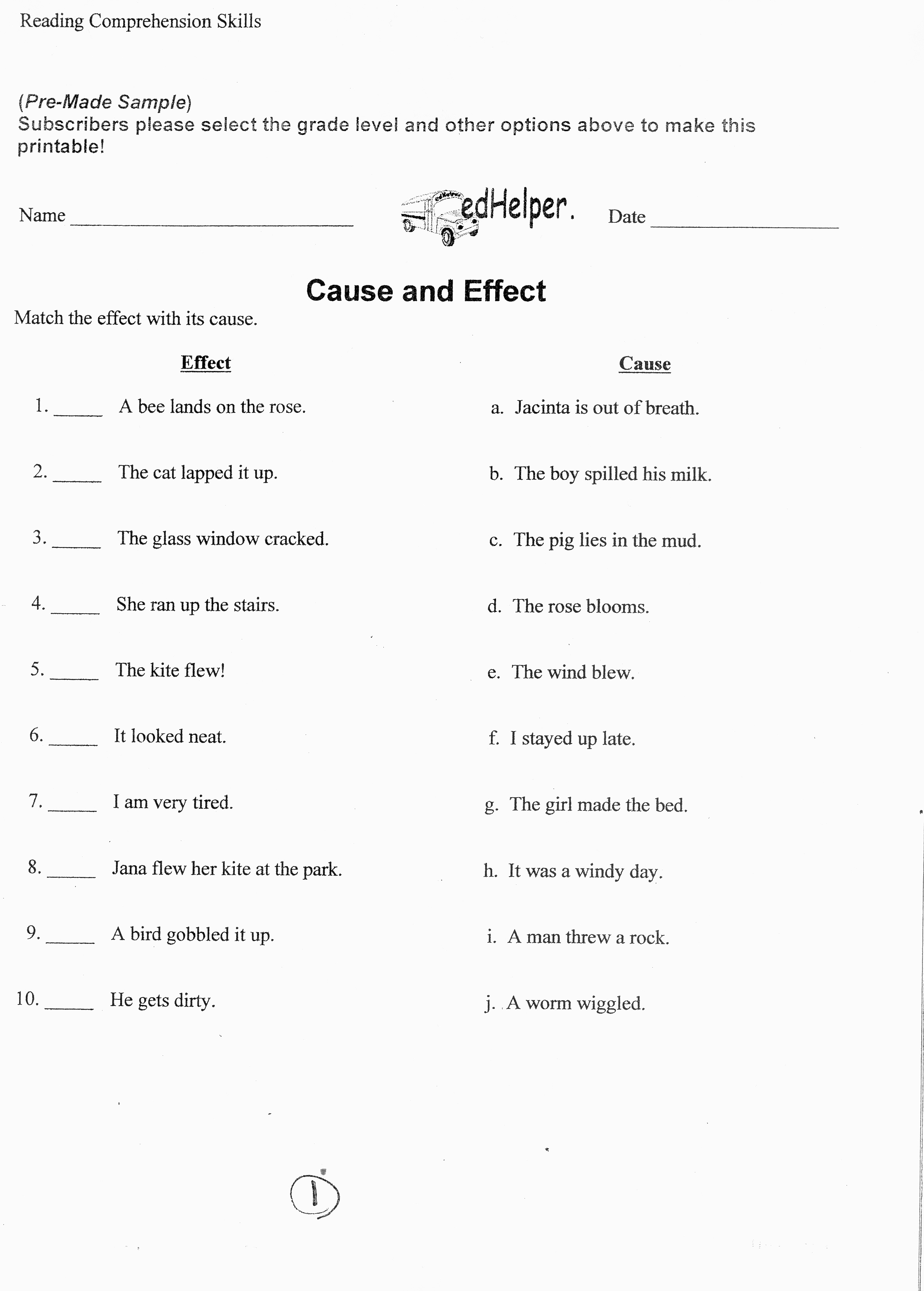 Cause and Effect Worksheet