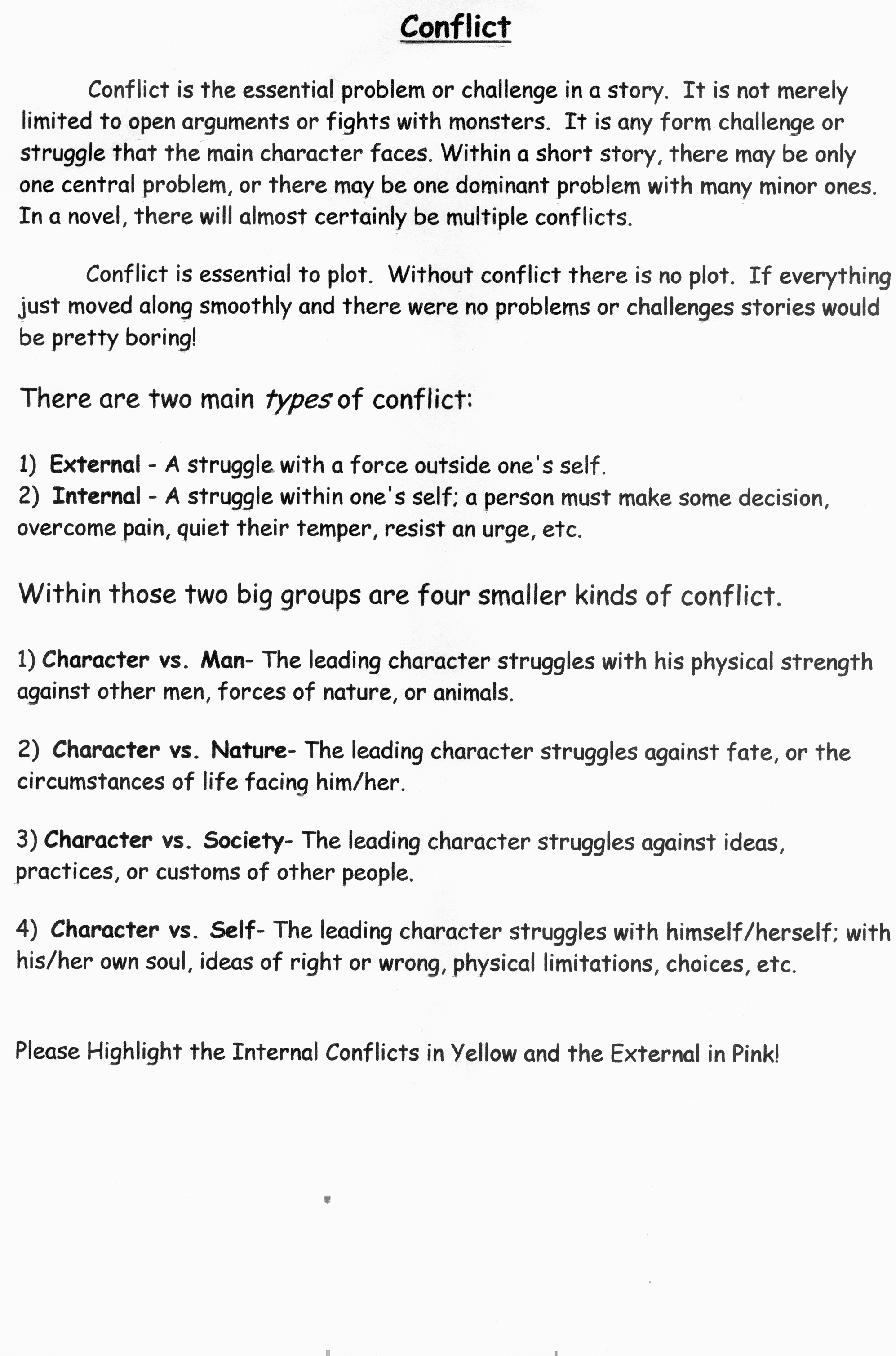 Worksheets Types Of Conflict Worksheet 6th grade lessons middle school language arts help internalexternal conflict