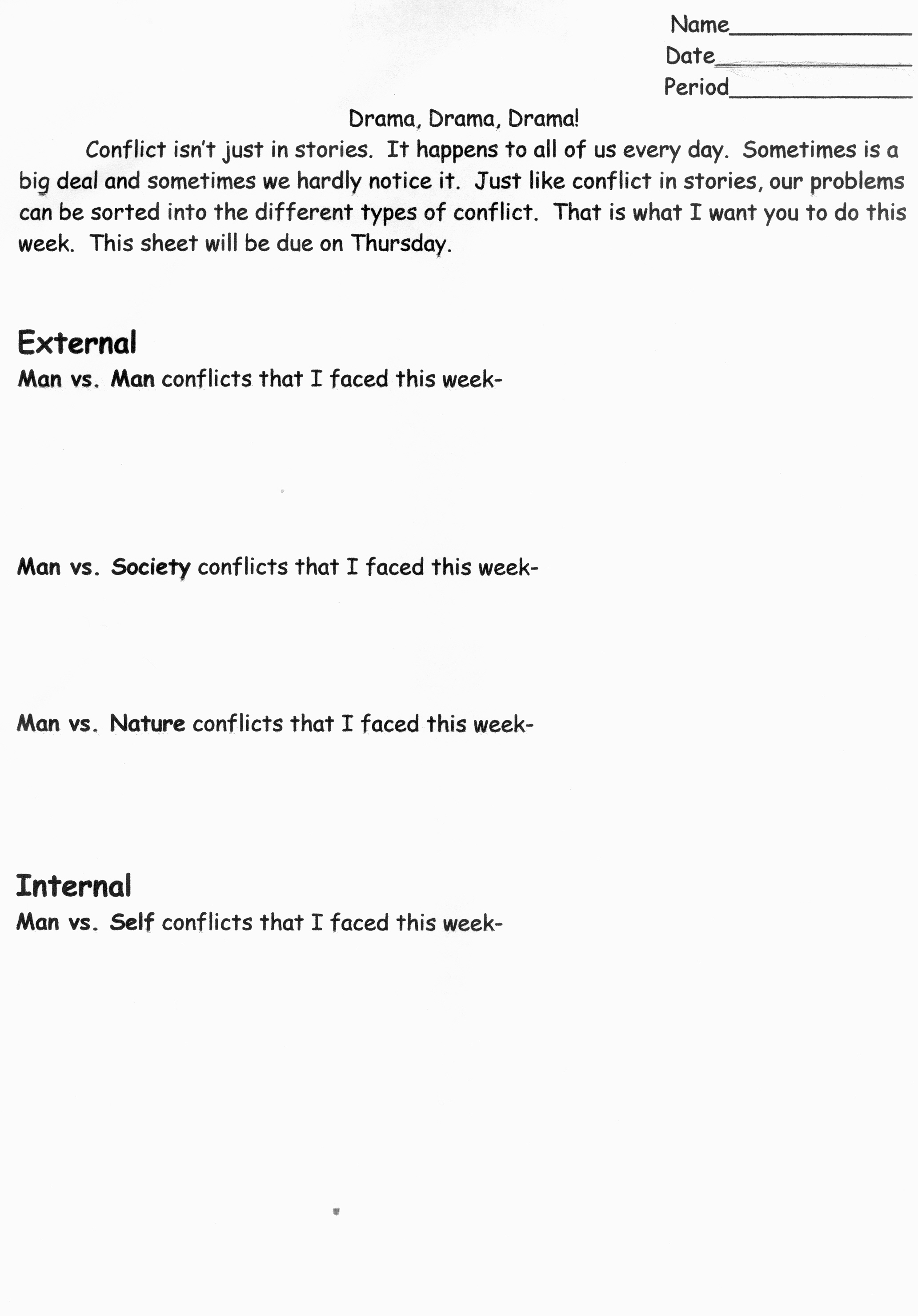 Internal External Conflict Worksheet on Theme In Literature Worksheets