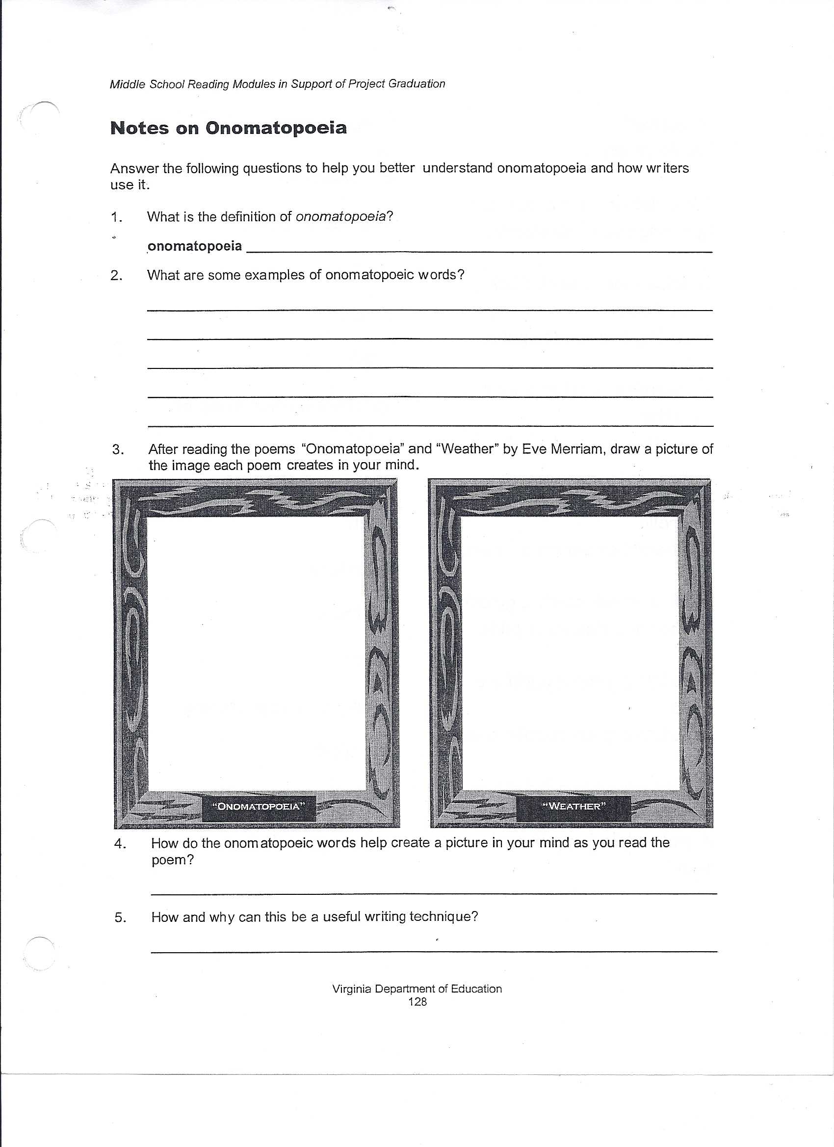 worksheet Identifying Theme Worksheet Answers 6th grade lessons middle school language arts help onomatopoeia worksheet 1